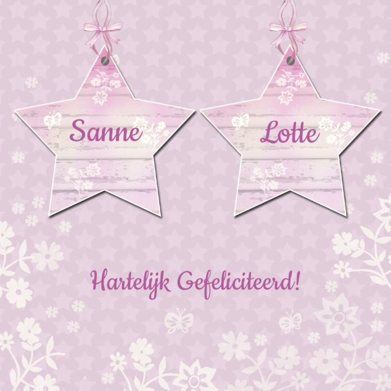 Felicitatiekaarten - Felicitatie tweeling ster
