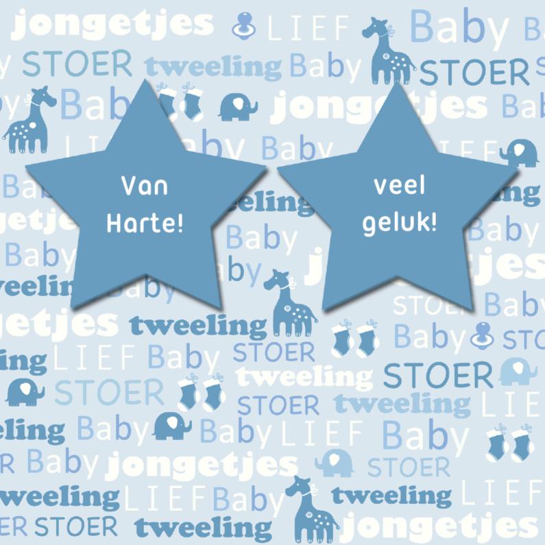 Felicitatiekaarten - Felicitatie tweeling tekst ster