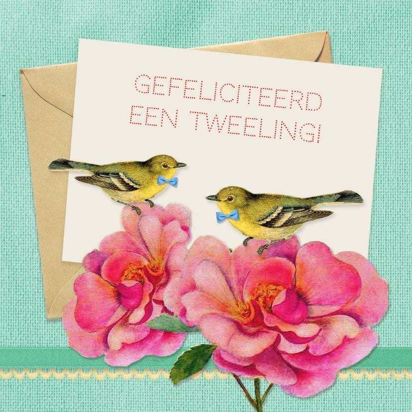 Felicitatiekaarten - Felicitatie tweeling vintage