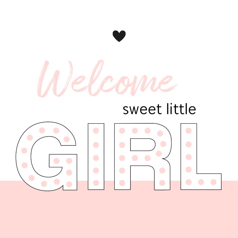 Felicitatiekaarten - Felicitatie - Typografisch met roze