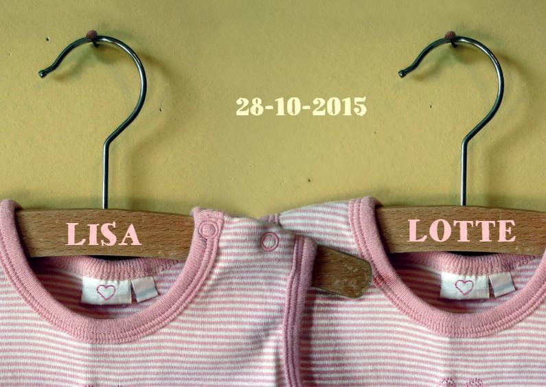 Felicitatiekaarten - felicitatie vintage romper twin girls Lisa en Lotte