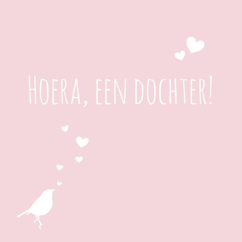 Felicitatiekaarten - Felicitatie vogel hartjes roze