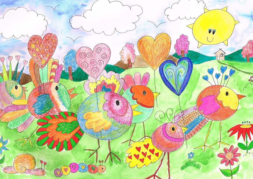 Felicitatiekaarten - Felicitatie: Vogel met hartjes