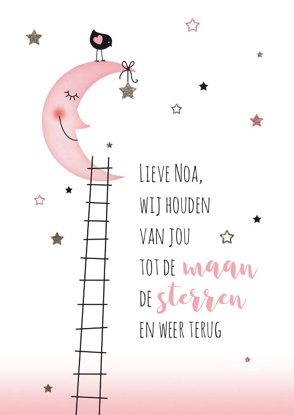 Felicitatiekaarten - Felicitatie voor de baby maan sterren meisje