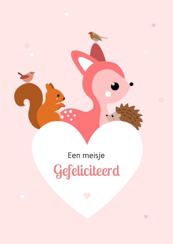 Felicitatiekaarten - Felicitatie voor een geboorte hart met dieren