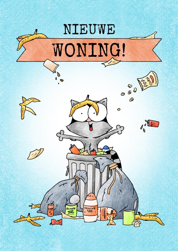 Felicitatiekaarten - Felicitatie voor nieuwe woning met wasbeer in vuilnisbak
