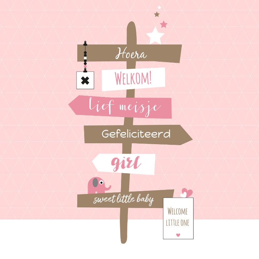 Felicitatiekaarten - Felicitatie - Wegwijzer met olifantje en sterren