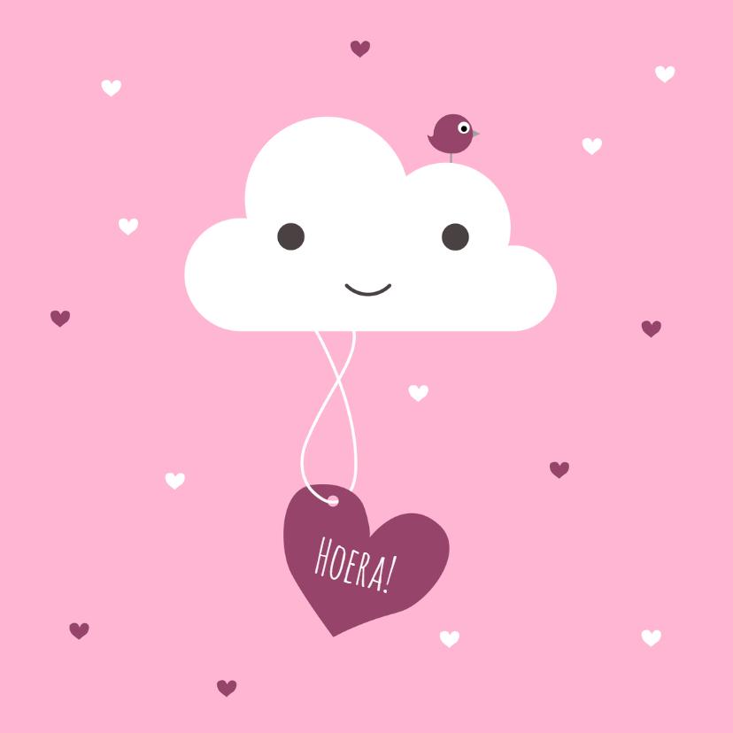Felicitatiekaarten - Felicitatie - Wolk, meisje, hart