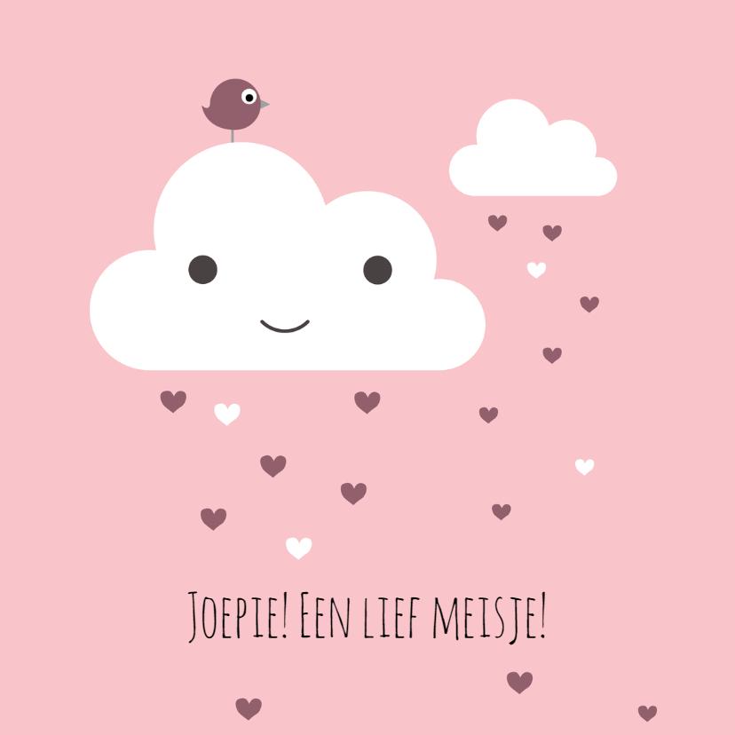 Felicitatiekaarten - Felicitatie Wolk met roze harten
