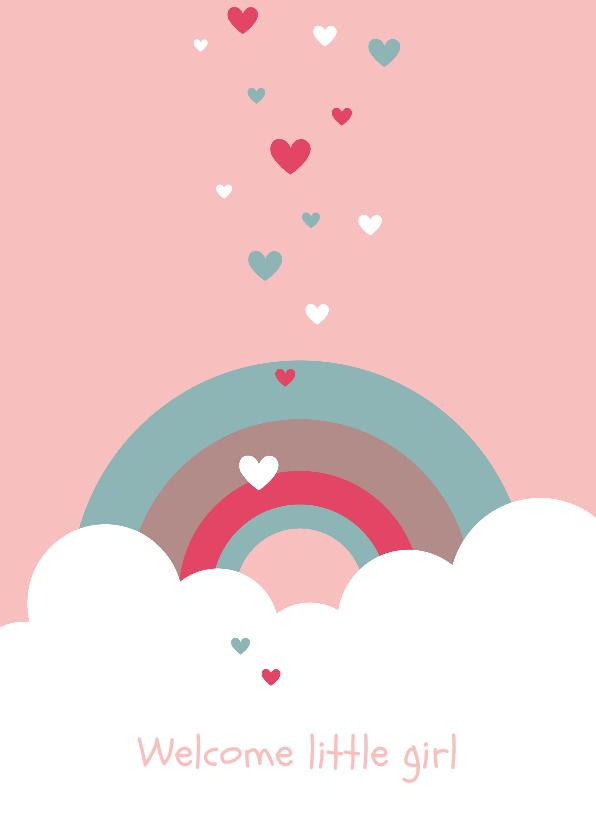 Felicitatiekaarten - Felicitatie - Wolken, regenboog en hartjes