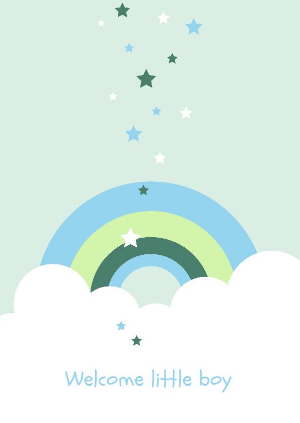 Felicitatiekaarten - Felicitatie - Wolken, regenboog en sterren