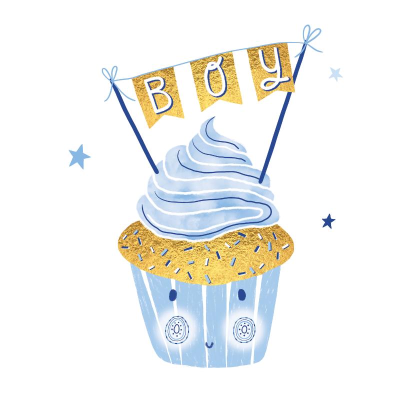 Felicitatiekaarten - Felicitatie zoon happy cupcake blauw