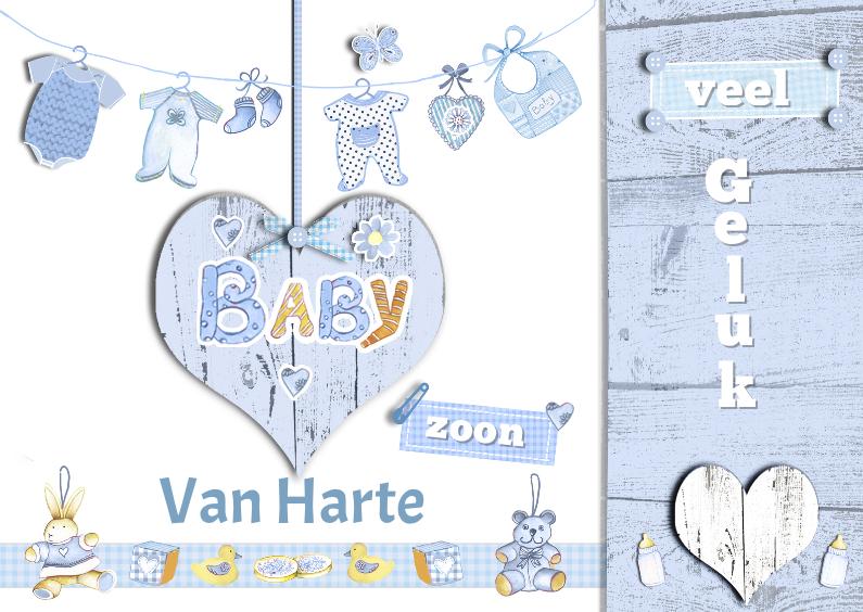 Felicitatiekaarten - felicitatie zoon houten hart waslijn