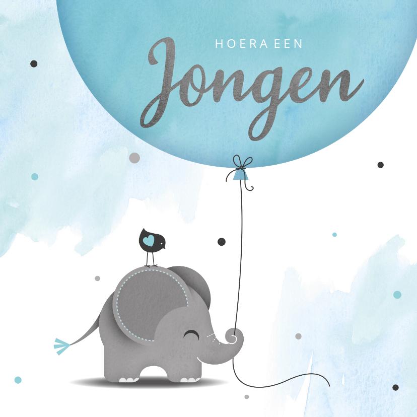 Felicitatiekaarten - Felicitatie zoon olifantje met ballon en vogel