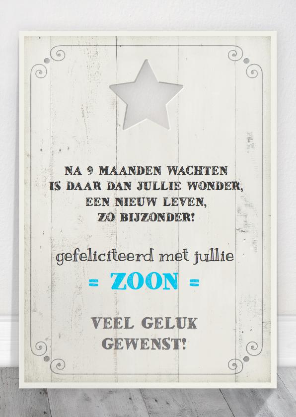 Felicitatiekaarten - Felicitatie Zoon Tekstbord Hout