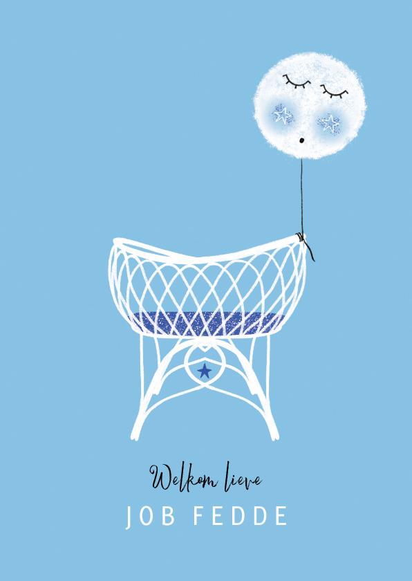 Felicitatiekaarten - Felicitatie zoon wiegje ballon blauw