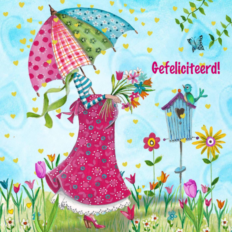 Felicitatiekaarten - Felicitatie Zwanger Parasol Illustratie