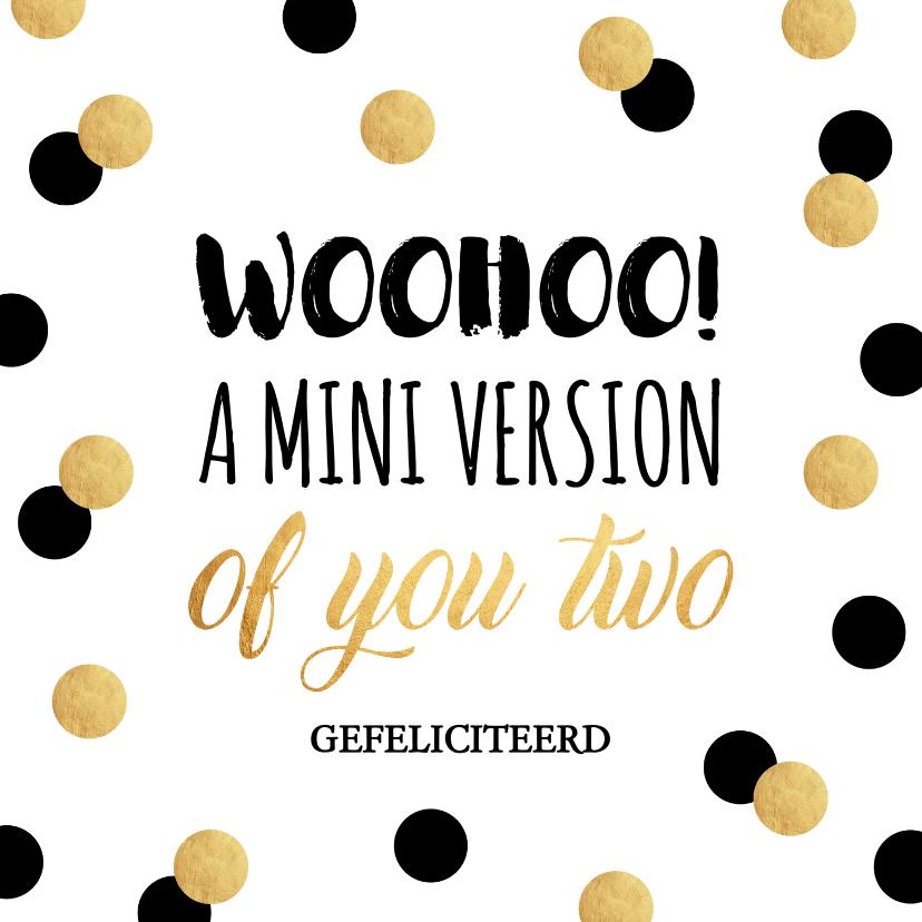 Felicitatiekaarten - Felicitatie zwangerschap typografie confetti goudlook