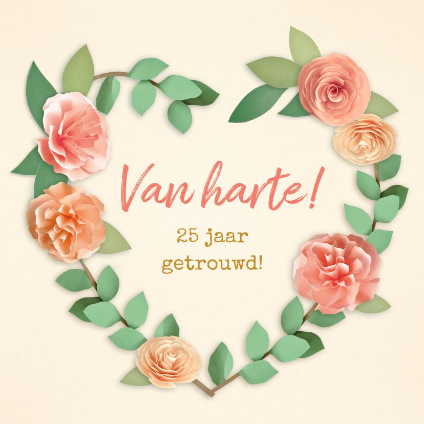 Felicitatiekaarten - Felicitatiekaart 25 jaar getrouwd bloemenhart
