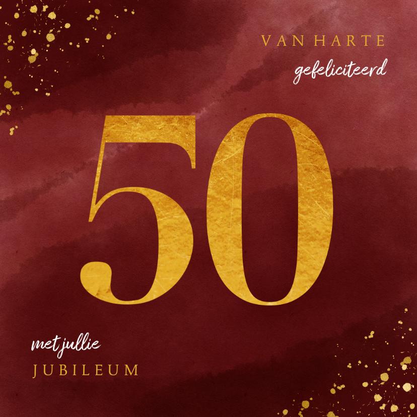 Felicitatiekaarten - Felicitatiekaart 50 jaar gouden spetters op waterverf
