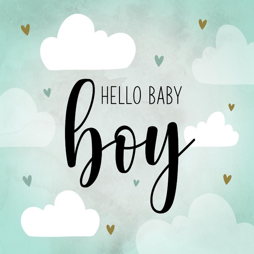Felicitatiekaarten - Felicitatiekaart baby boy met wolkjes