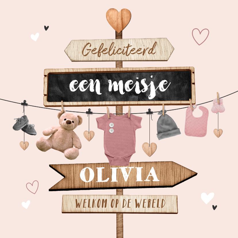 Felicitatiekaarten - Felicitatiekaart baby geboorte meisje babyspul wegwijzers