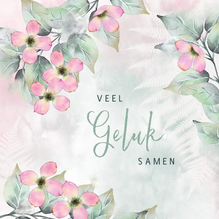Felicitatiekaarten - Felicitatiekaart bladeren met roze bloemen