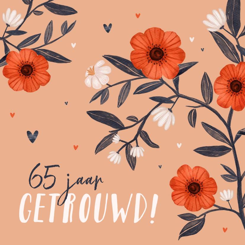 Felicitatiekaarten - Felicitatiekaart bloemen huwelijksjubileum hartjes