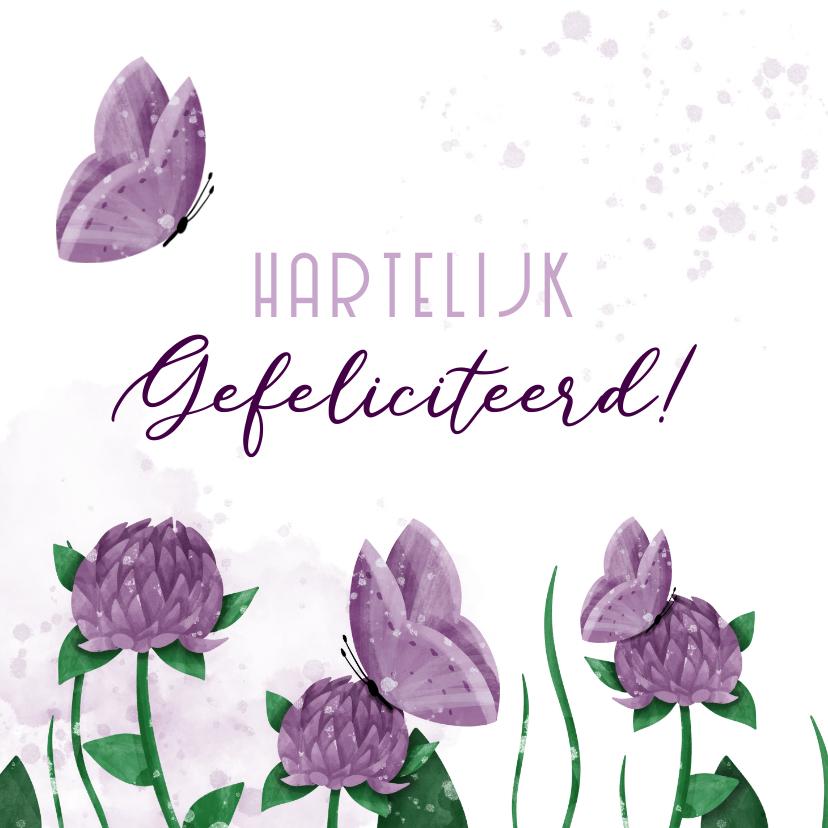 Felicitatiekaarten - Felicitatiekaart bloemen met vlinders