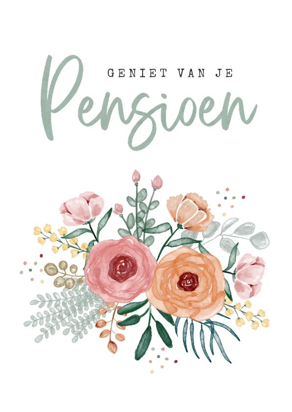 Felicitatiekaarten - Felicitatiekaart bloemen pensioen vrouw confetti foto