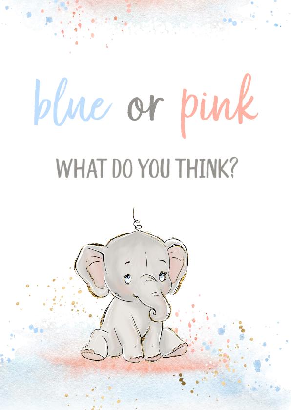 Felicitatiekaarten - Felicitatiekaart 'blue or pink'