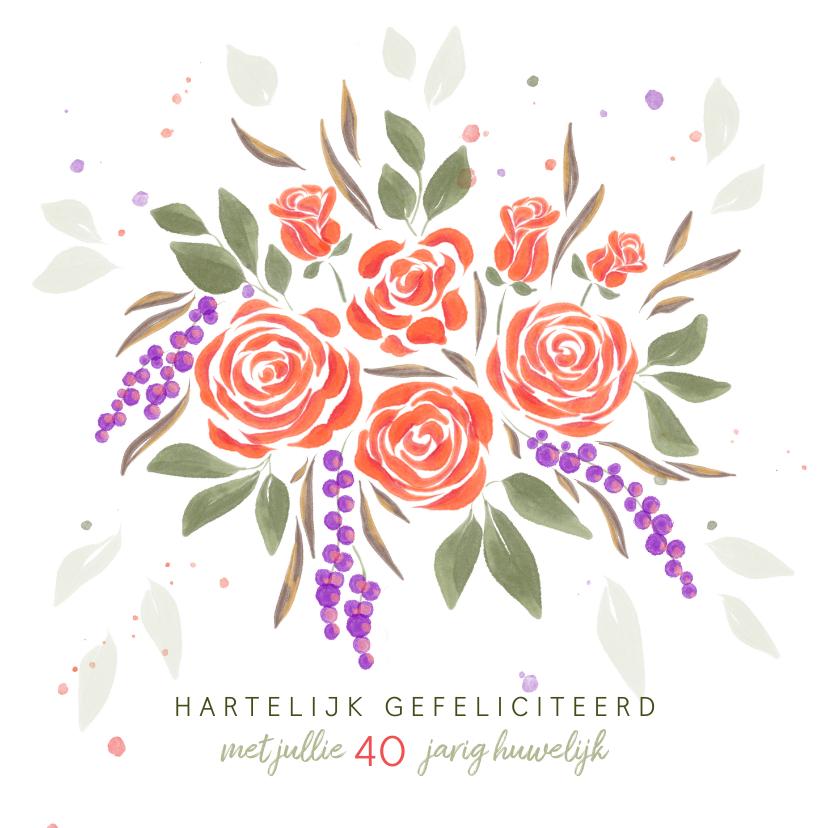 Felicitatiekaarten - Felicitatiekaart boeket oranje rozen