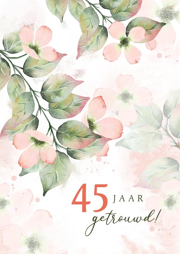 Felicitatiekaarten - Felicitatiekaart botanisch met roze bloemen