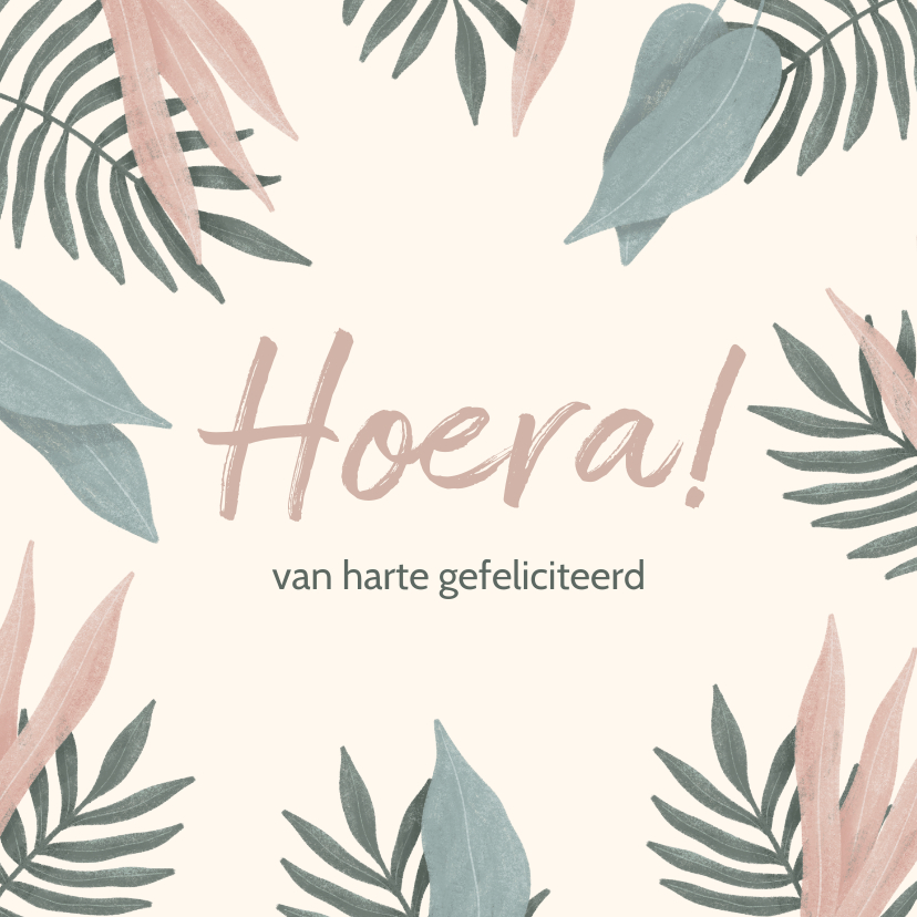 Felicitatiekaarten - Felicitatiekaart botanische bladeren pastel