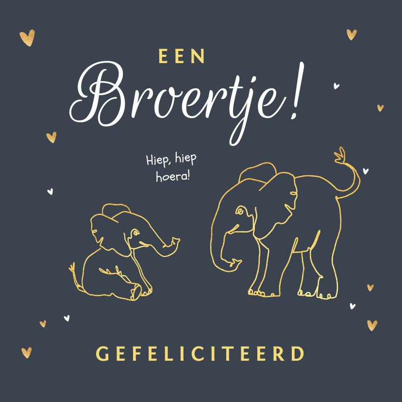 Felicitatiekaarten - Felicitatiekaart broer of zus met olifantjes en hartjes