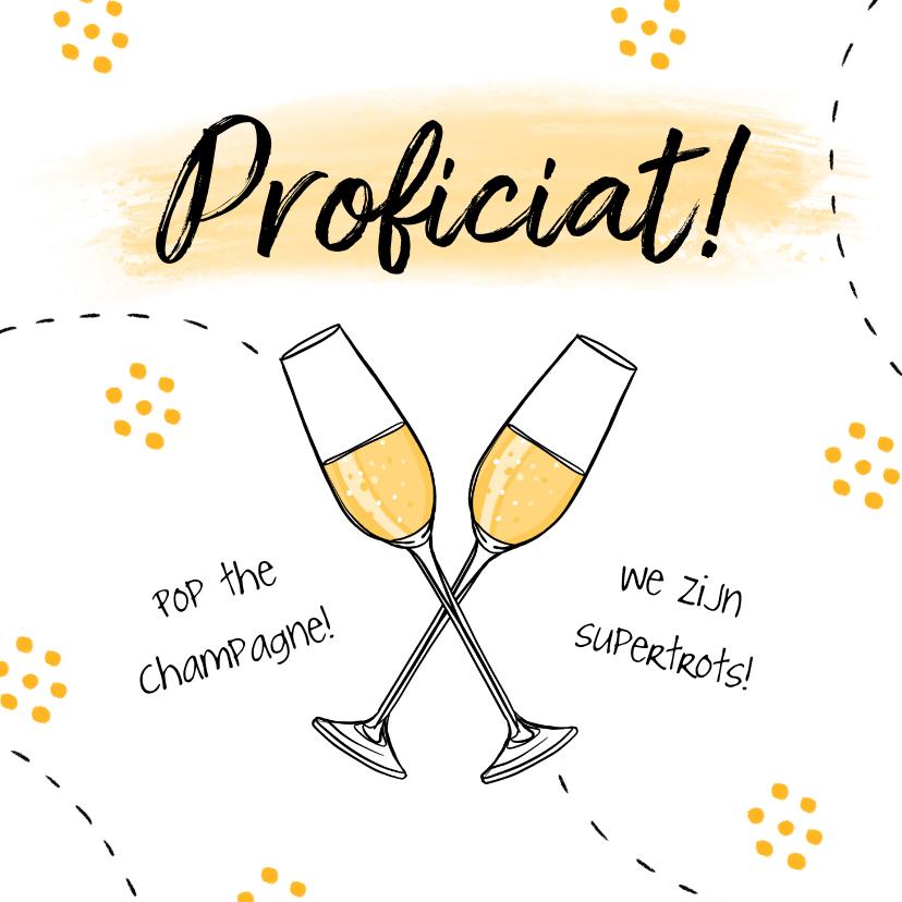 Felicitatiekaarten - Felicitatiekaart champagne cheers hip illustratie