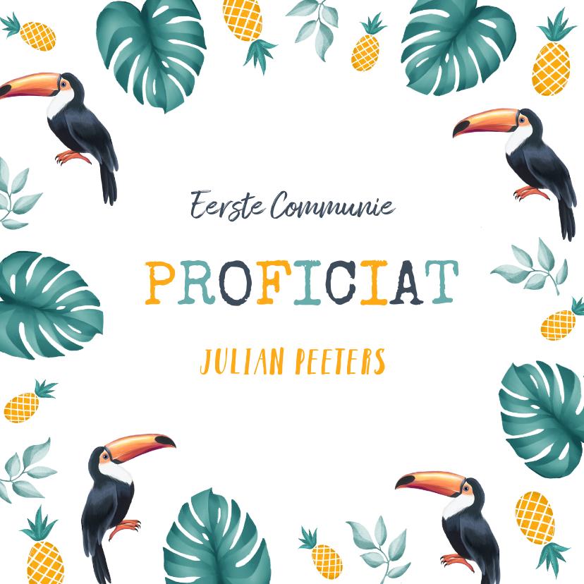 Felicitatiekaarten - Felicitatiekaart communie lentefeest tropical toekan