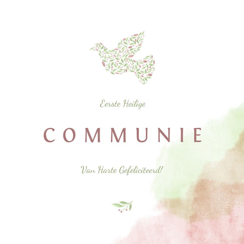 Felicitatiekaarten - felicitatiekaart communie met duif van bloemen en waterverf