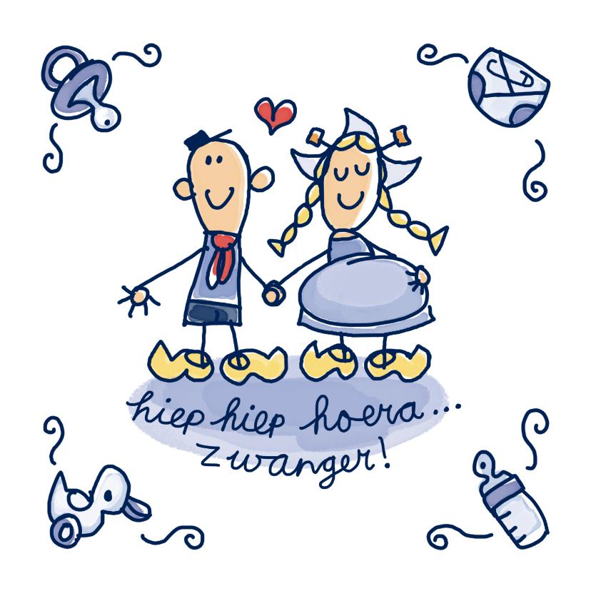 Felicitatiekaarten - Felicitatiekaart delfts blauw tegeltje met zwanger stel