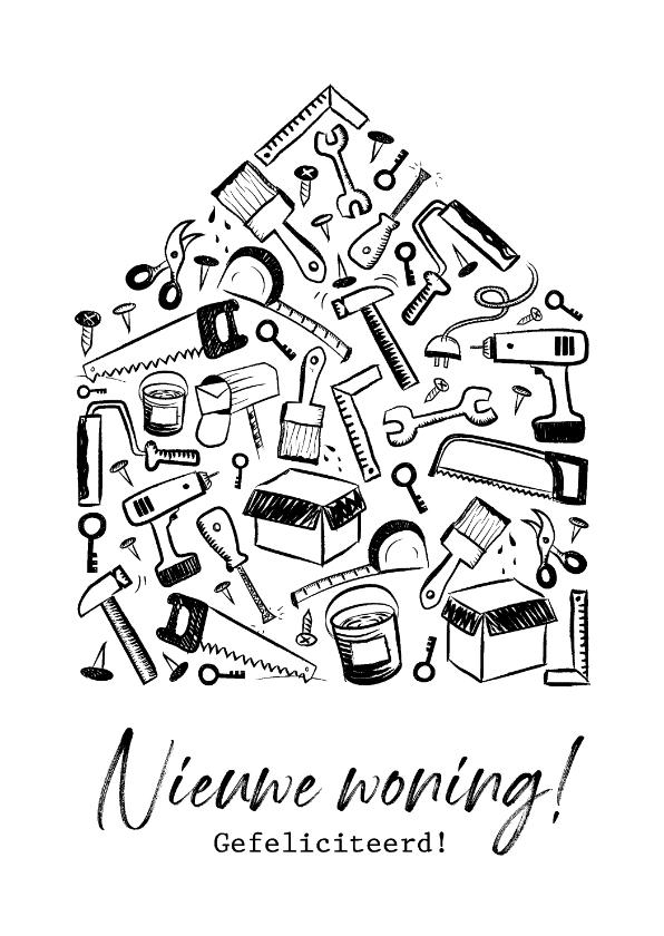 Felicitatiekaarten - Felicitatiekaart doodle voor nieuwe woning