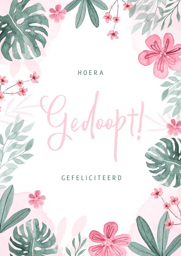 Felicitatiekaarten - Felicitatiekaart doopsel bloemen meisje botanisch