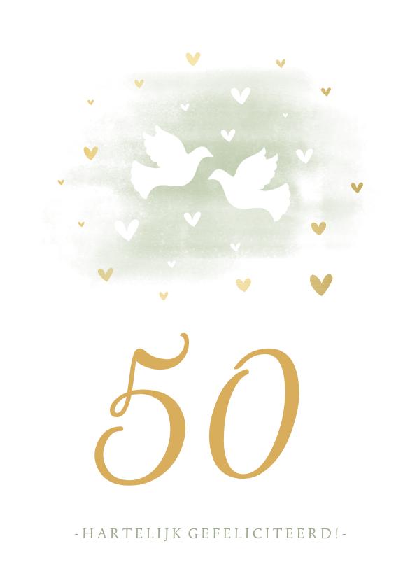 Felicitatiekaarten - Felicitatiekaart duiven met aanpasbaar jubileumjaar