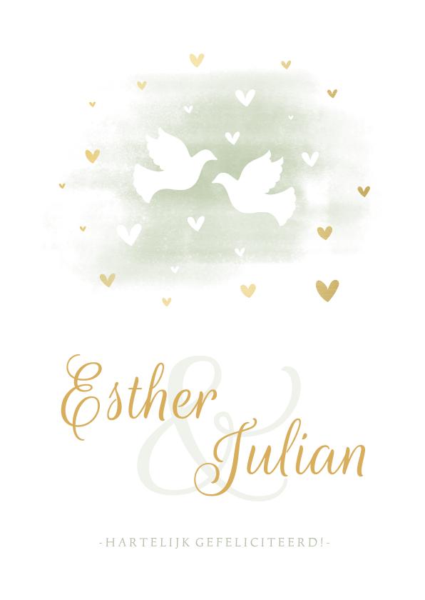 Felicitatiekaarten - Felicitatiekaart duiven met gouden hartjes en waterverf
