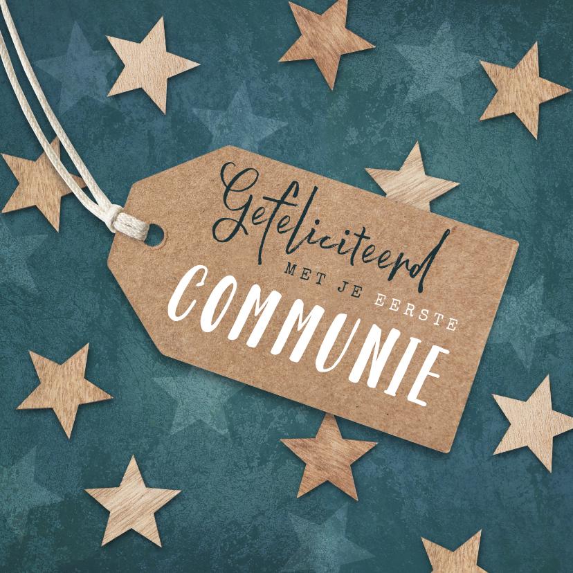 Felicitatiekaarten - Felicitatiekaart eerste communie label houten sterren blauw