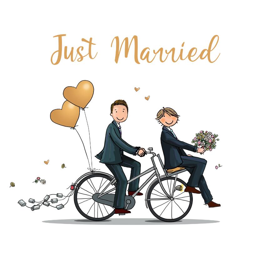 Felicitatiekaarten - Felicitatiekaart fietsend homo stel