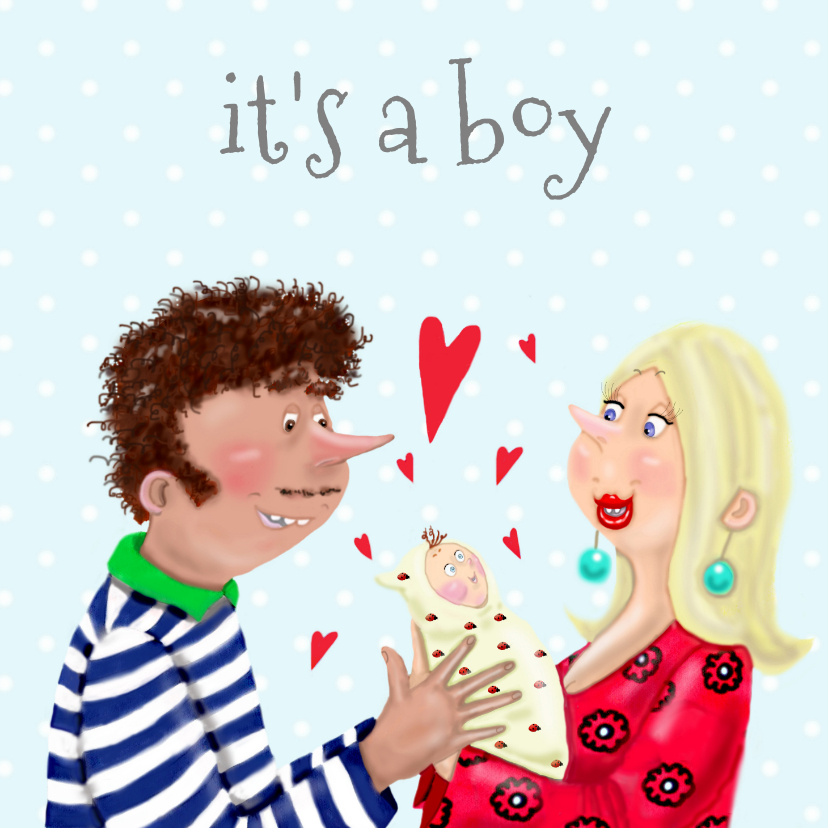 Felicitatiekaarten - Felicitatiekaart Geboort jongen vrolijk