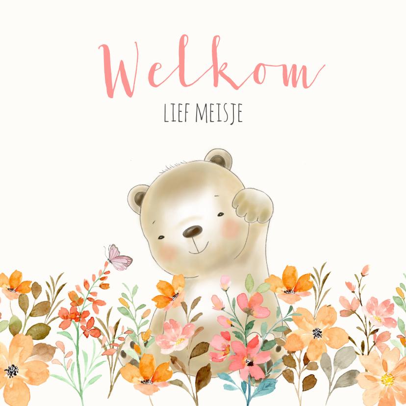 Felicitatiekaarten - Felicitatiekaart geboorte beer en bloemetjes