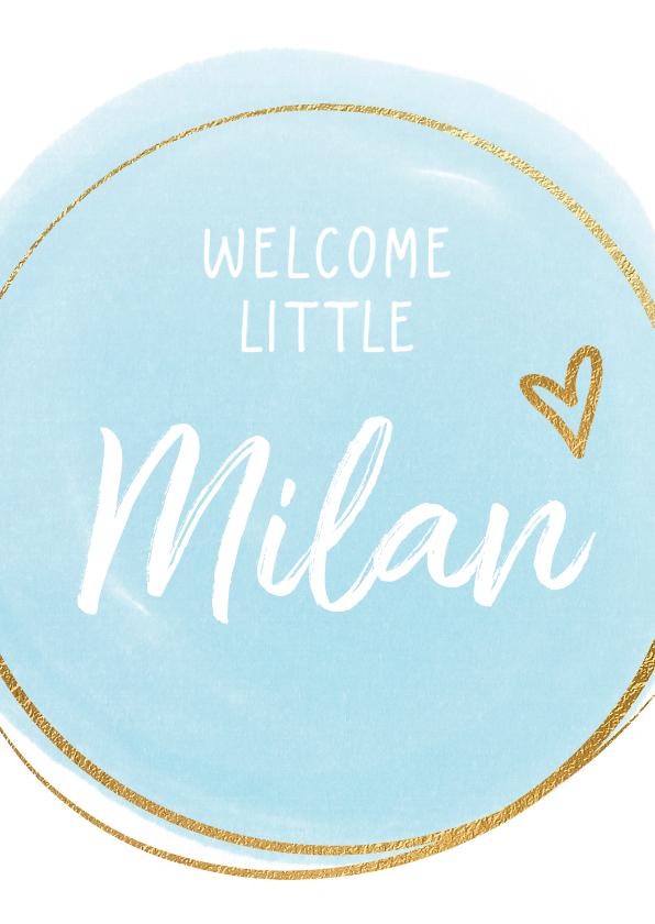 Felicitatiekaarten - Felicitatiekaart geboorte blauwe dot en cirkel