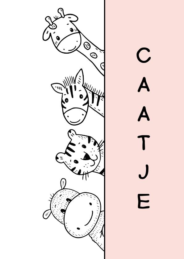 Felicitatiekaarten - Felicitatiekaart geboorte dieren kijkend om het hoekje roze