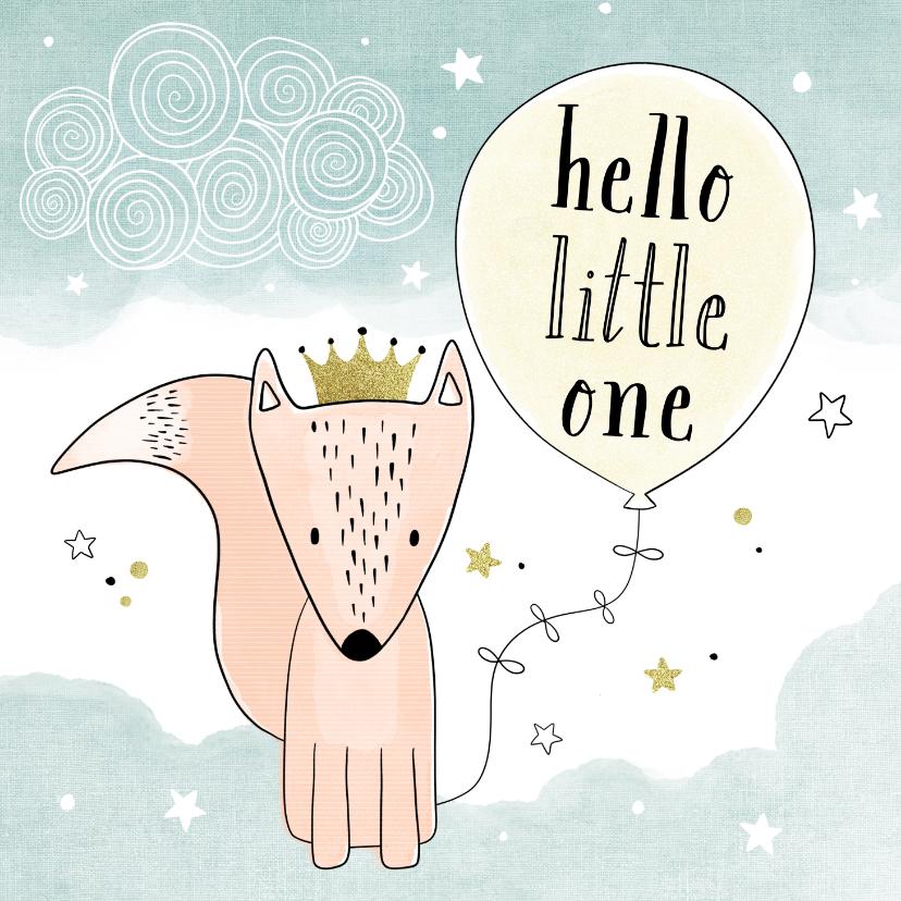 Felicitatiekaarten - Felicitatiekaart geboorte hello little one gele ballon